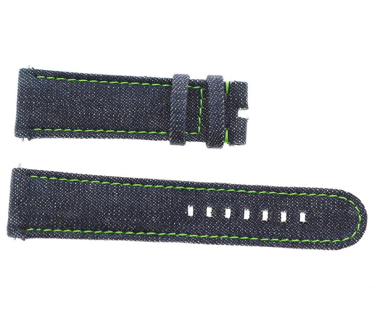Japanese Denim Watch strap 22mm / Green Stitching / Quick Release