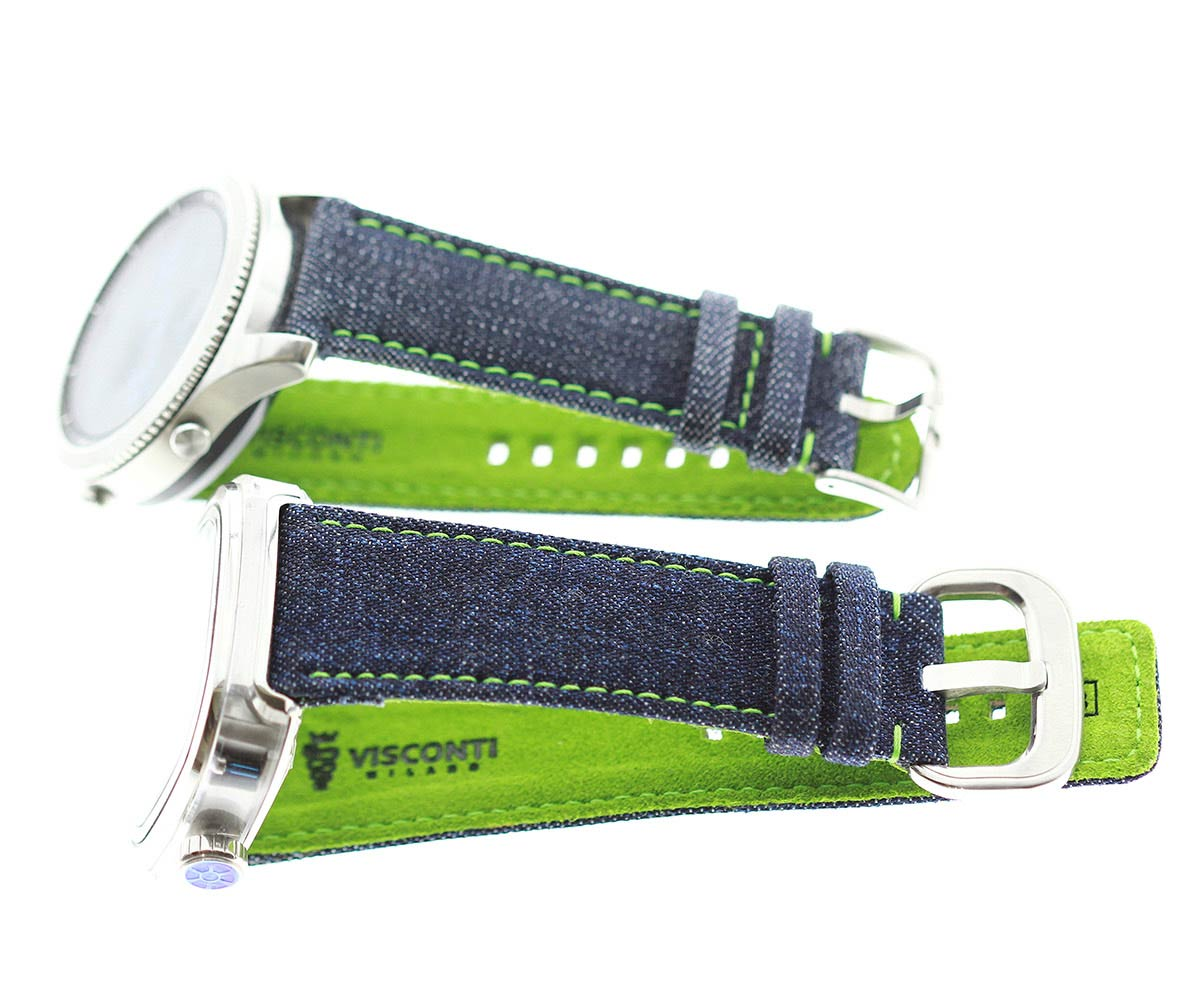Japanese Denim Smart Watch strap 22mm / Green Stitching / Quick Release