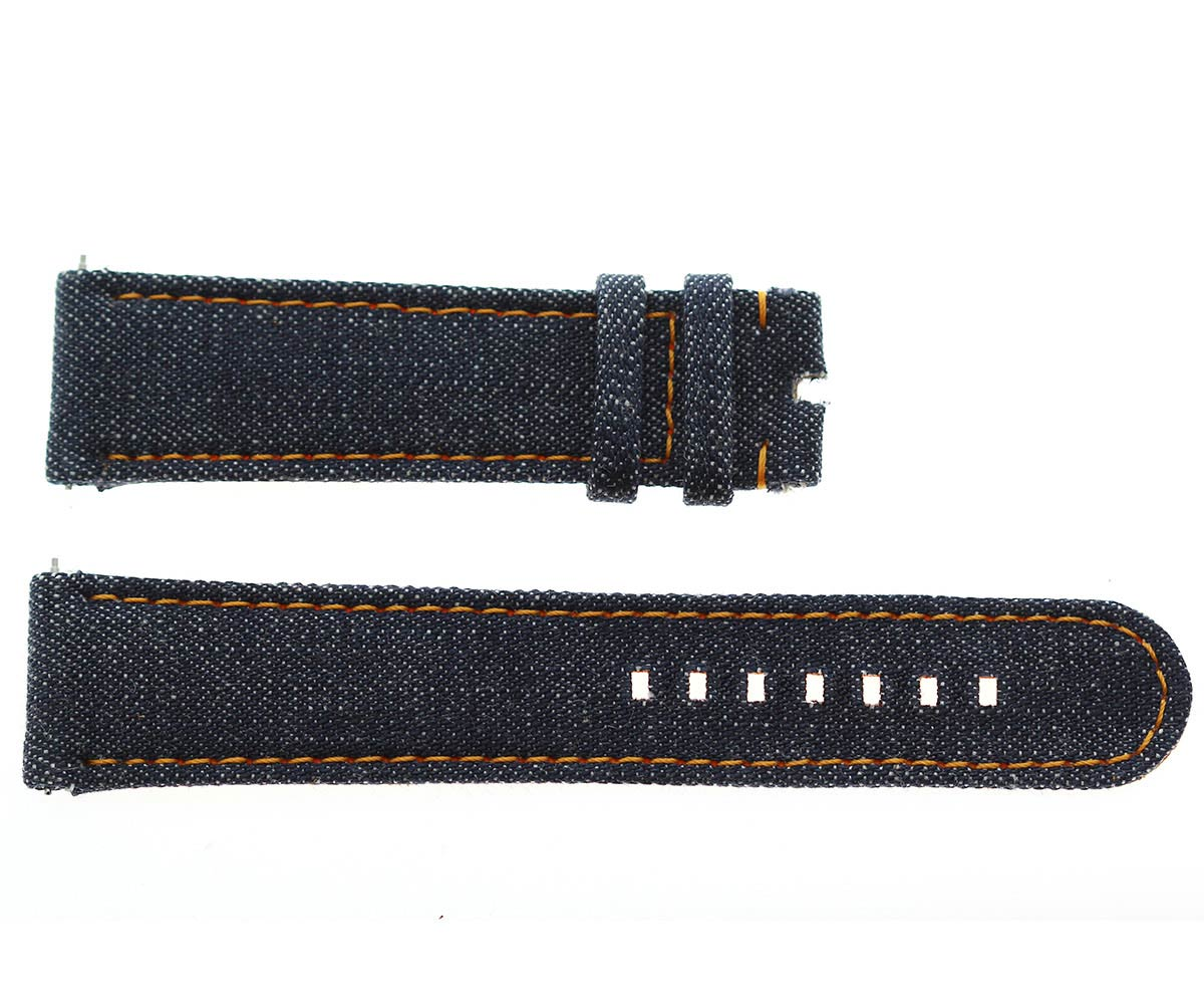 Japanese Denim Watch strap 22mm / Orange Stitching / Quick Release. Large size