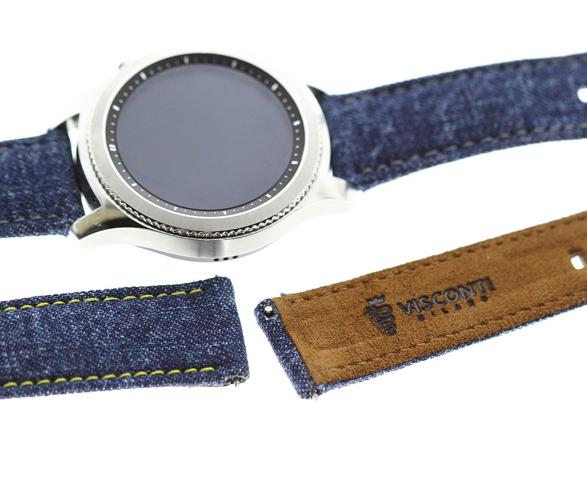 Japanese Denim Smart Watch strap 22mm / DISCO / Yellow Stitching / Quick release. Large size