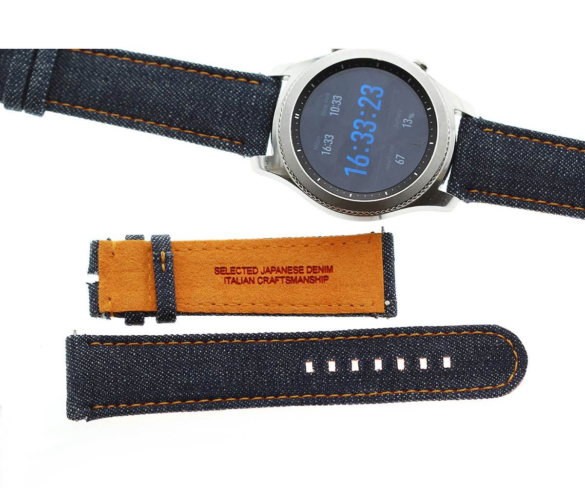 Japanese Denim Smart Watch strap 22mm / Orange Stitching / Quick Release.Large size