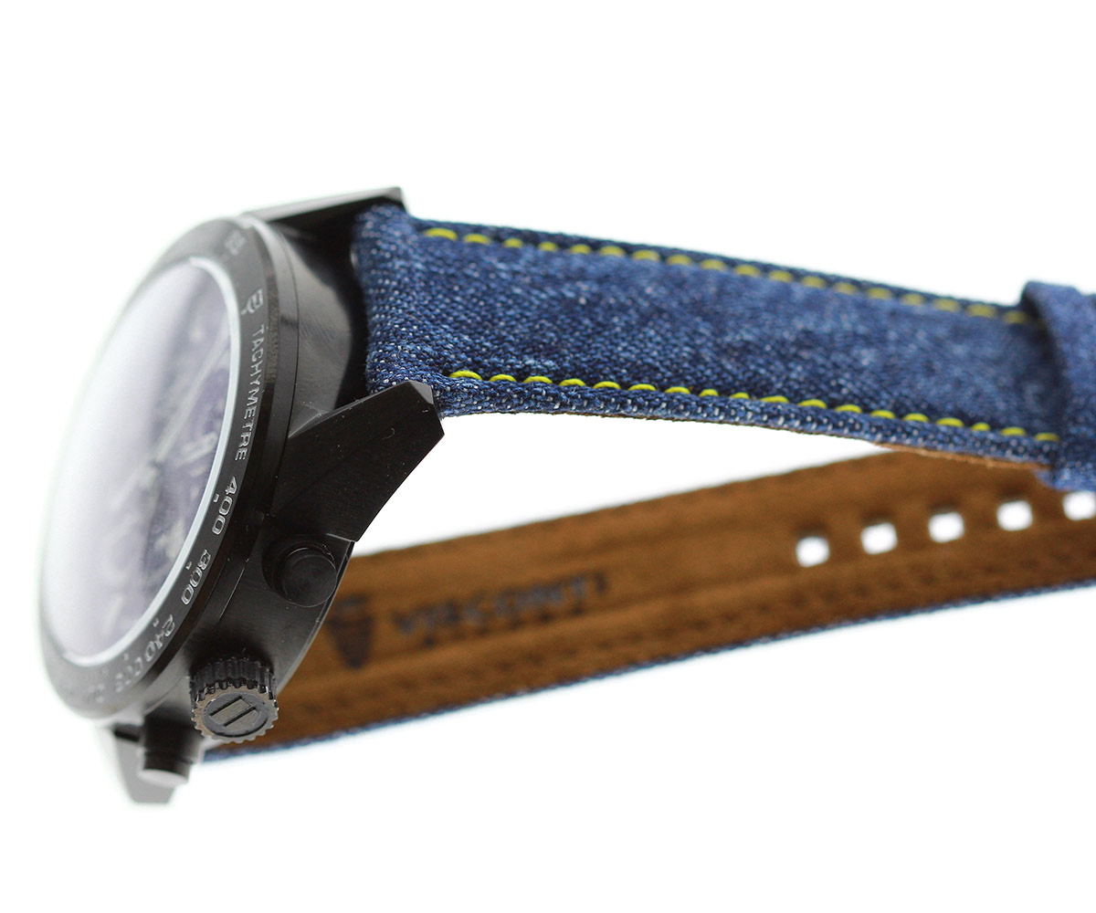 Japanese Denim Watch strap 22mm / DISCO / Yellow Stitching / Quick release. Large size