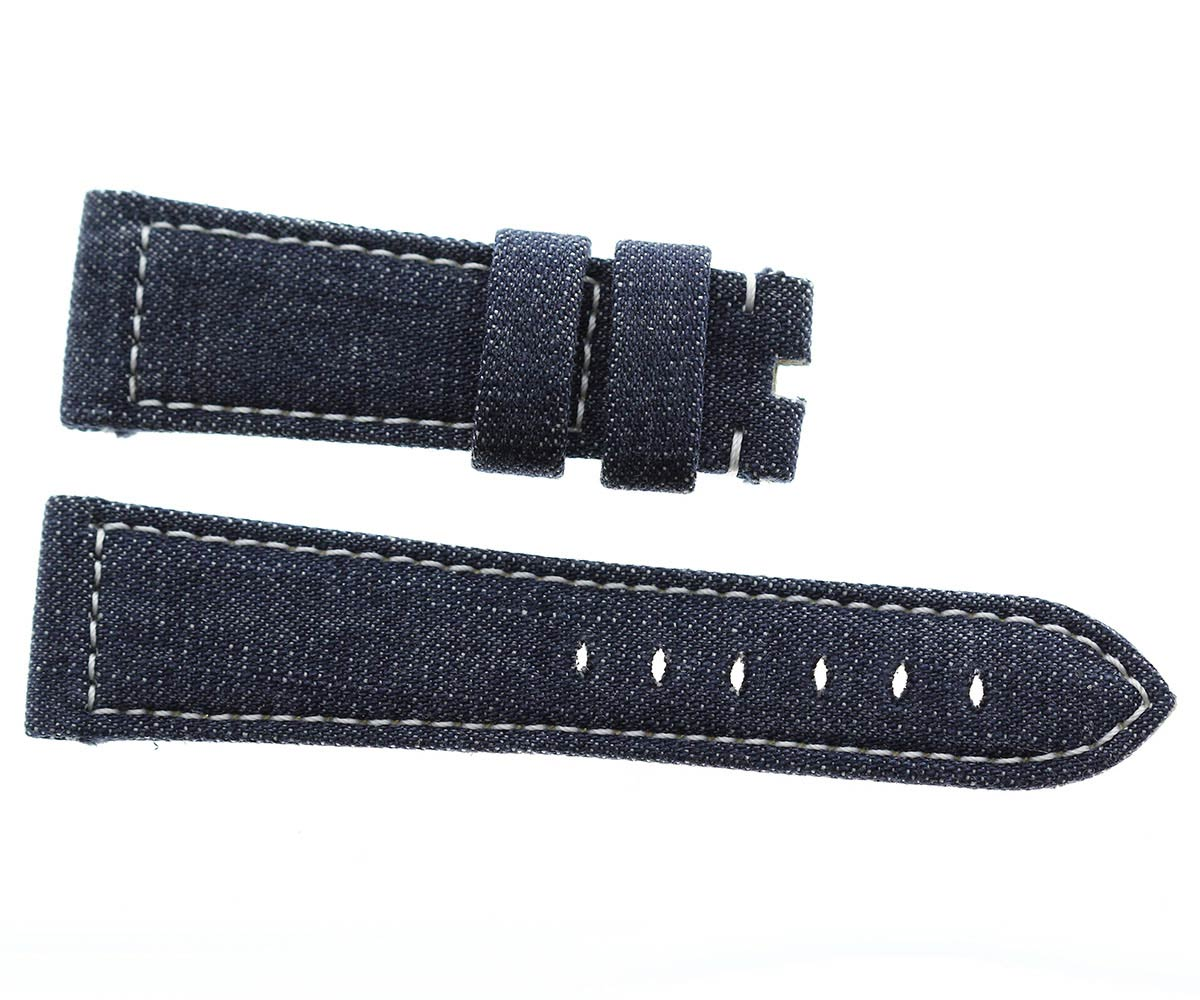 Japanese Denim Panerai style strap 24mm / White stitching