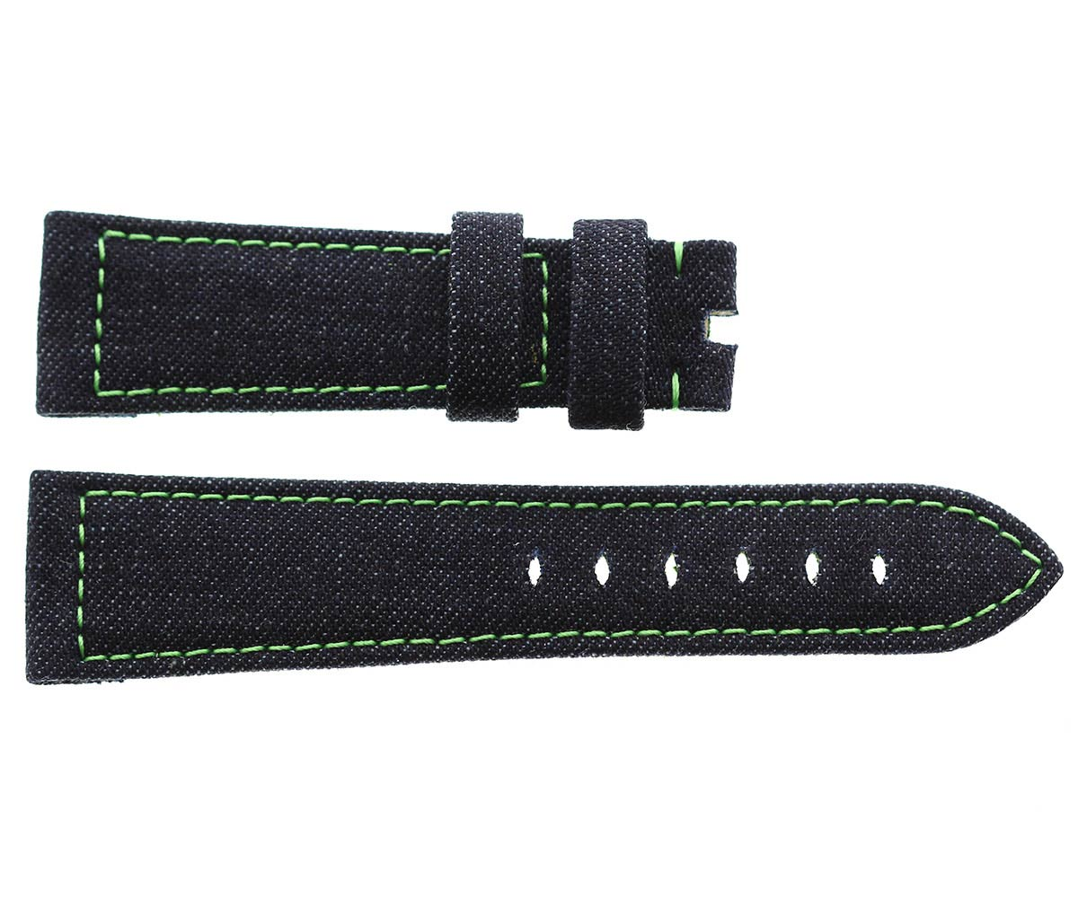 Japanese Denim Panerai style strap 24mm / Green stitching