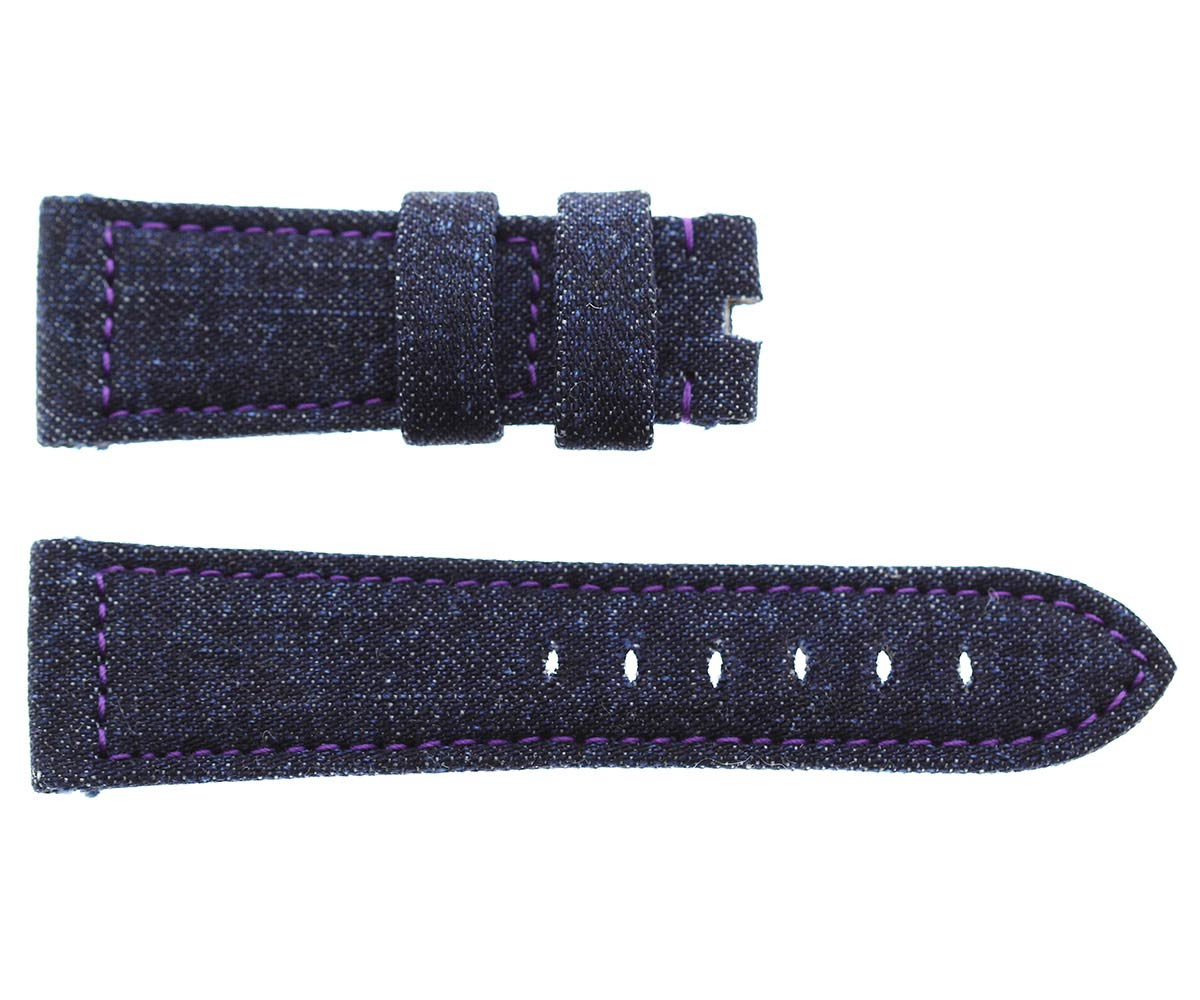 Japanese Denim Panerai style strap 24mm / Violet stitching