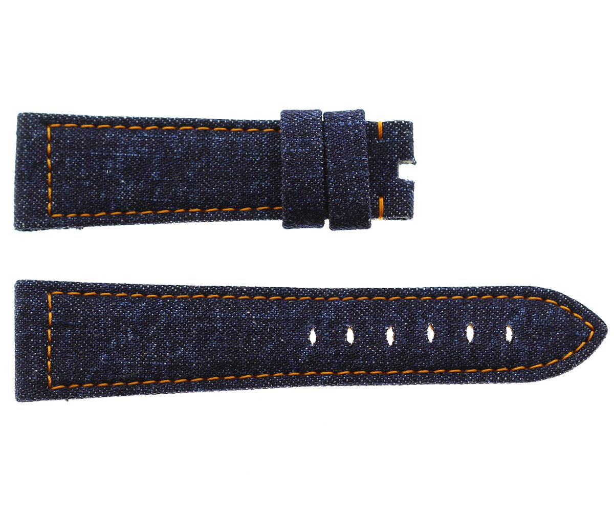 Japanese Denim Panerai style strap 24mm / Orange stitching. Large size