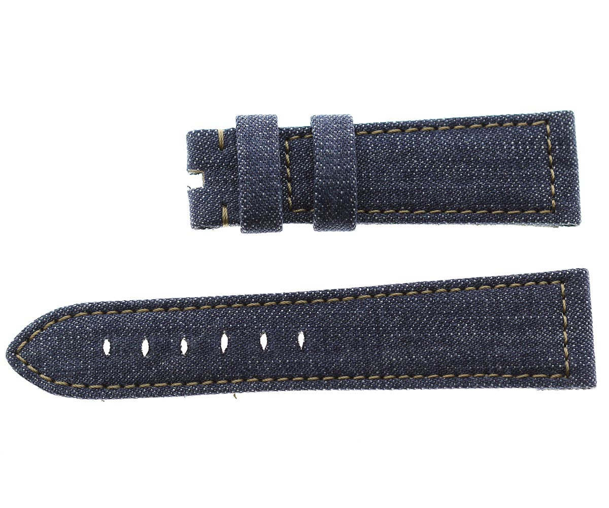 Japanese Denim Panerai style strap 24mm / Beige stitching