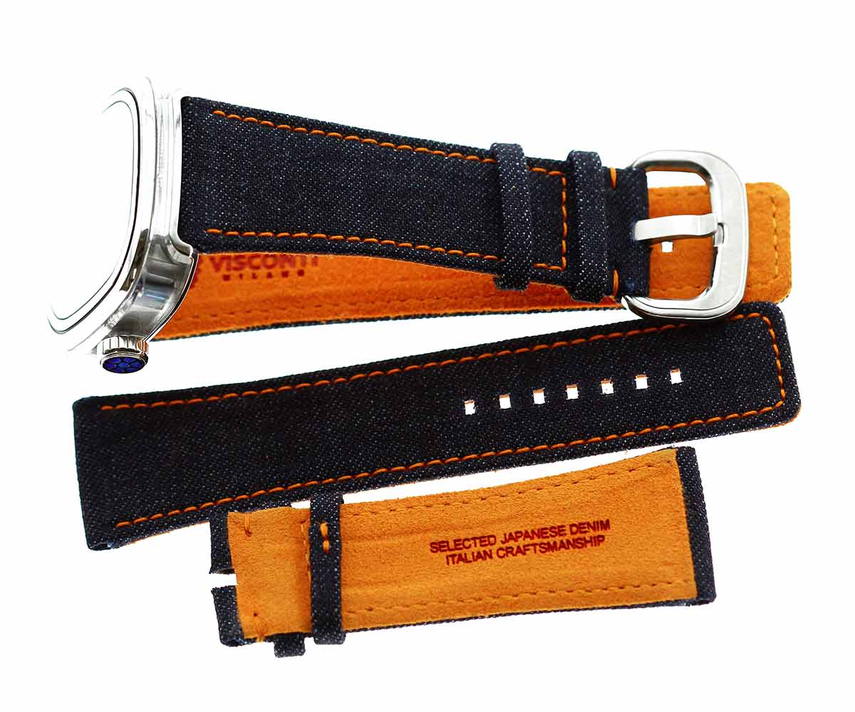SEVENFRIDAY style Blue Japanese Denim watch strap 28mm. Orange stitching