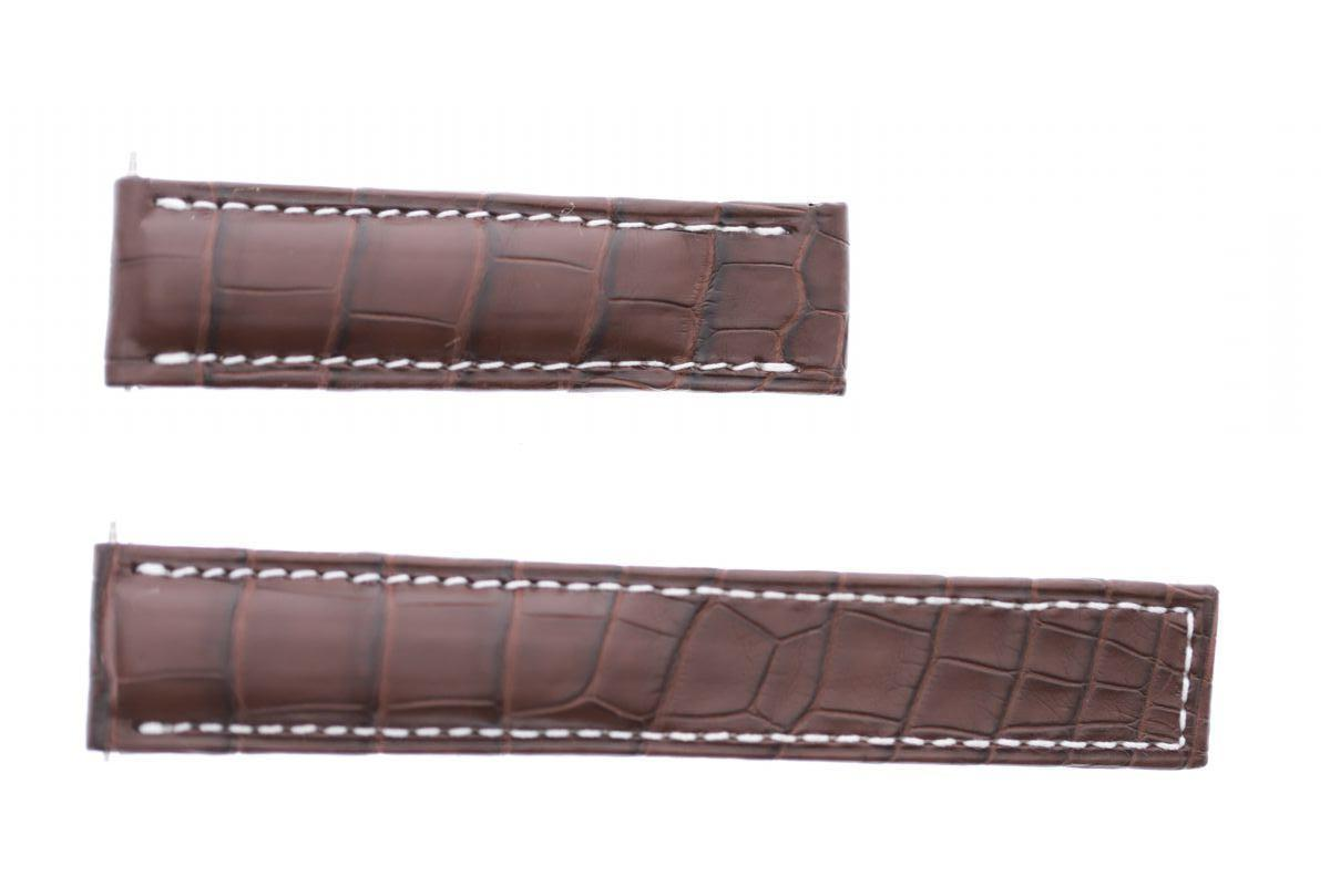 Brown Hydro Alligator leather strap 22mm Breitling Avenger deployment buckle style
