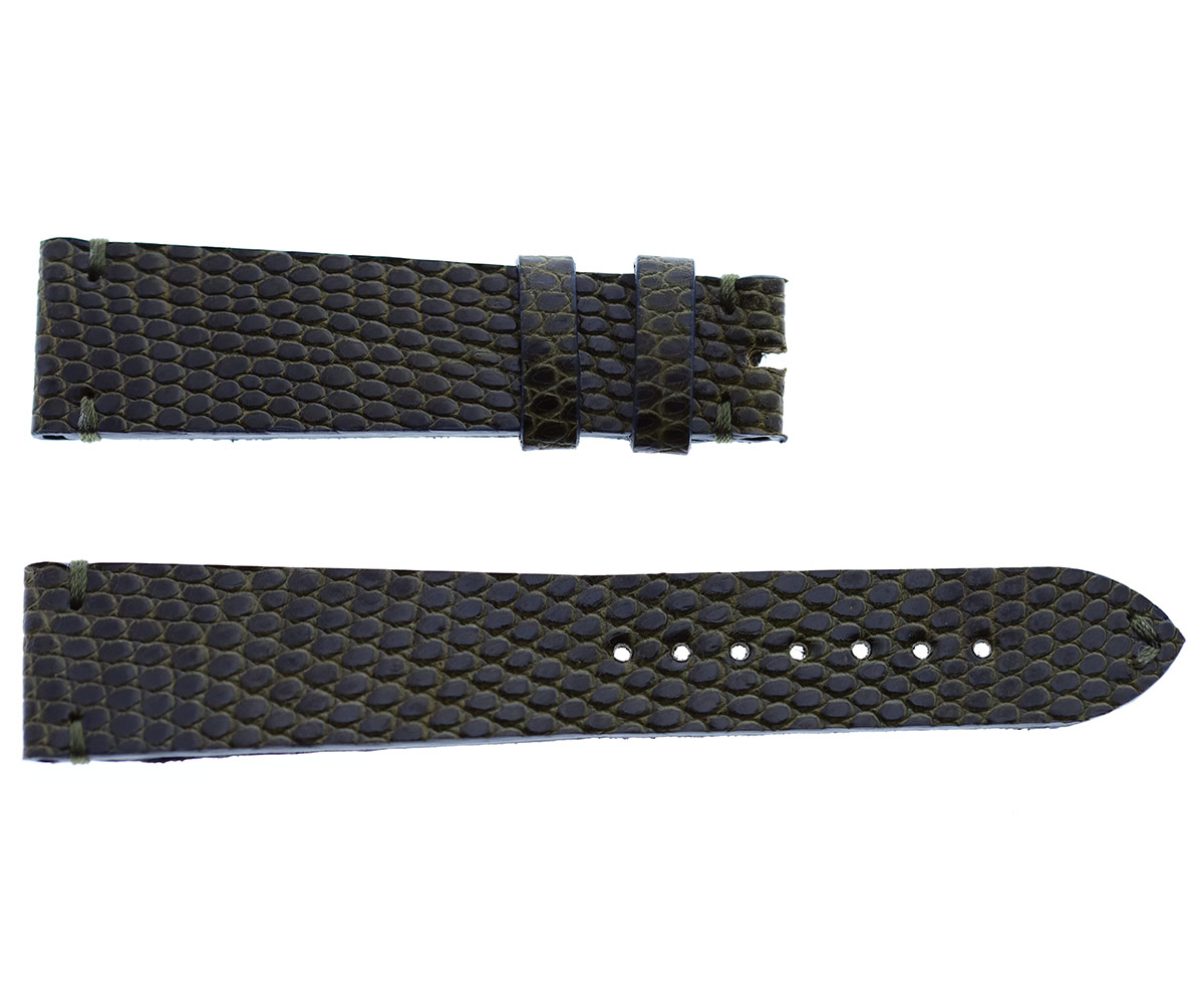 Dark Brown Green Camouflage Lizard leather strap 20mm General style
