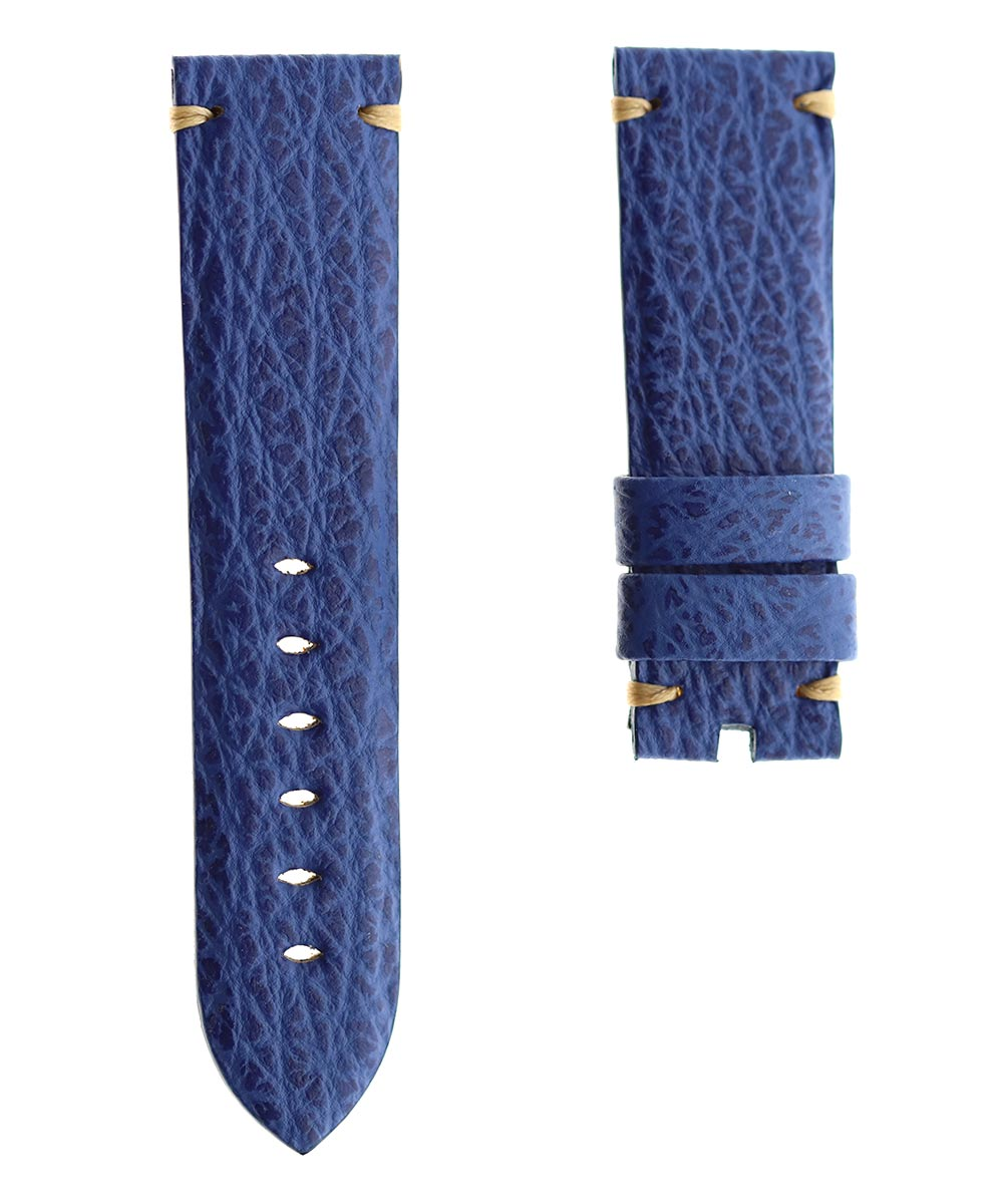 Blue Shark leather strap 24mm for Panerai. Alcantara lining