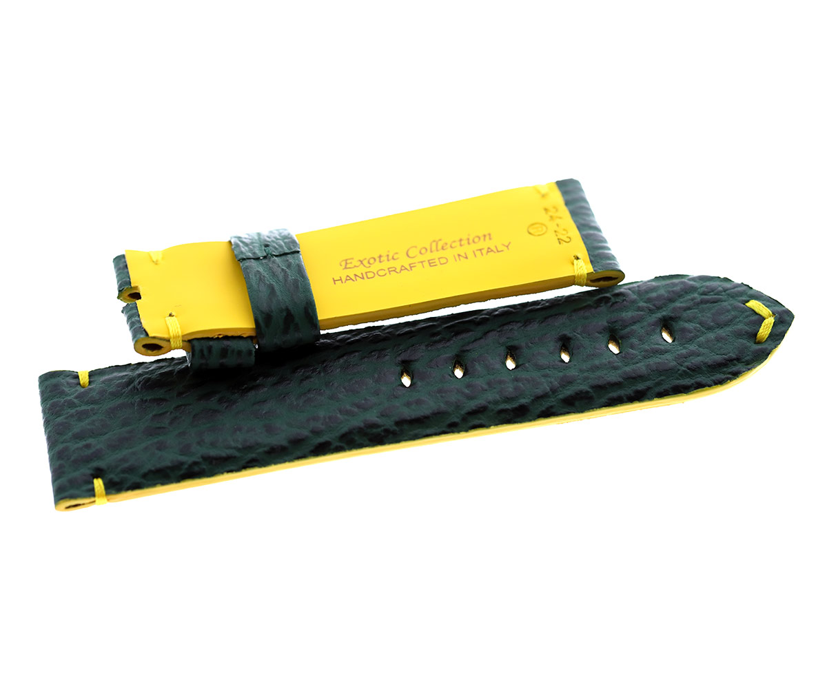 Emerald Green Shark leather strap 24mm for Panerai. Yellow Rubberized lining
