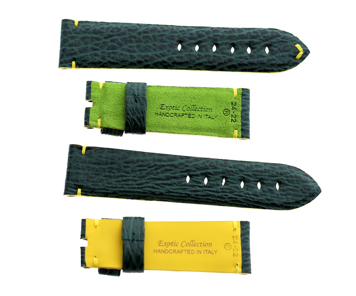 Emerald Green Shark leather strap 24mm for Panerai. Green Alcantara lining