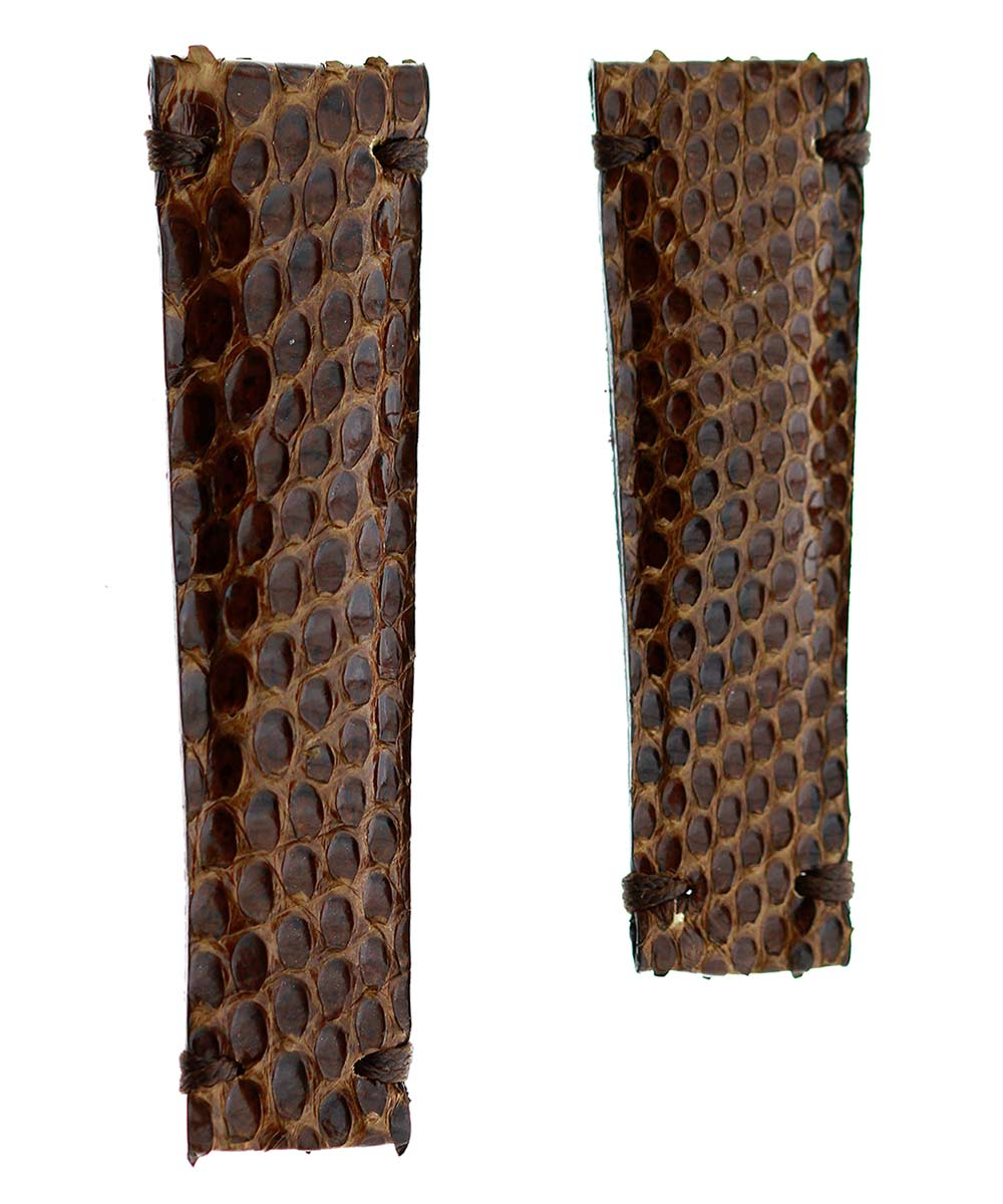 Exotic Brown Python leather strap 20mm for Rolex Daytona. Alcantara® lining