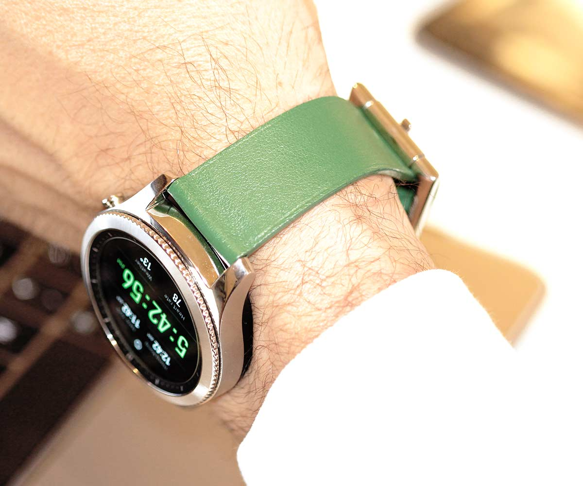 Racer watch band 22 mm in Green Calf Leather