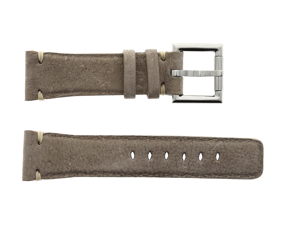 Strap 24mm in Ocean Coffee Beige Kudu Vintage Leather with Fixed Buckle
