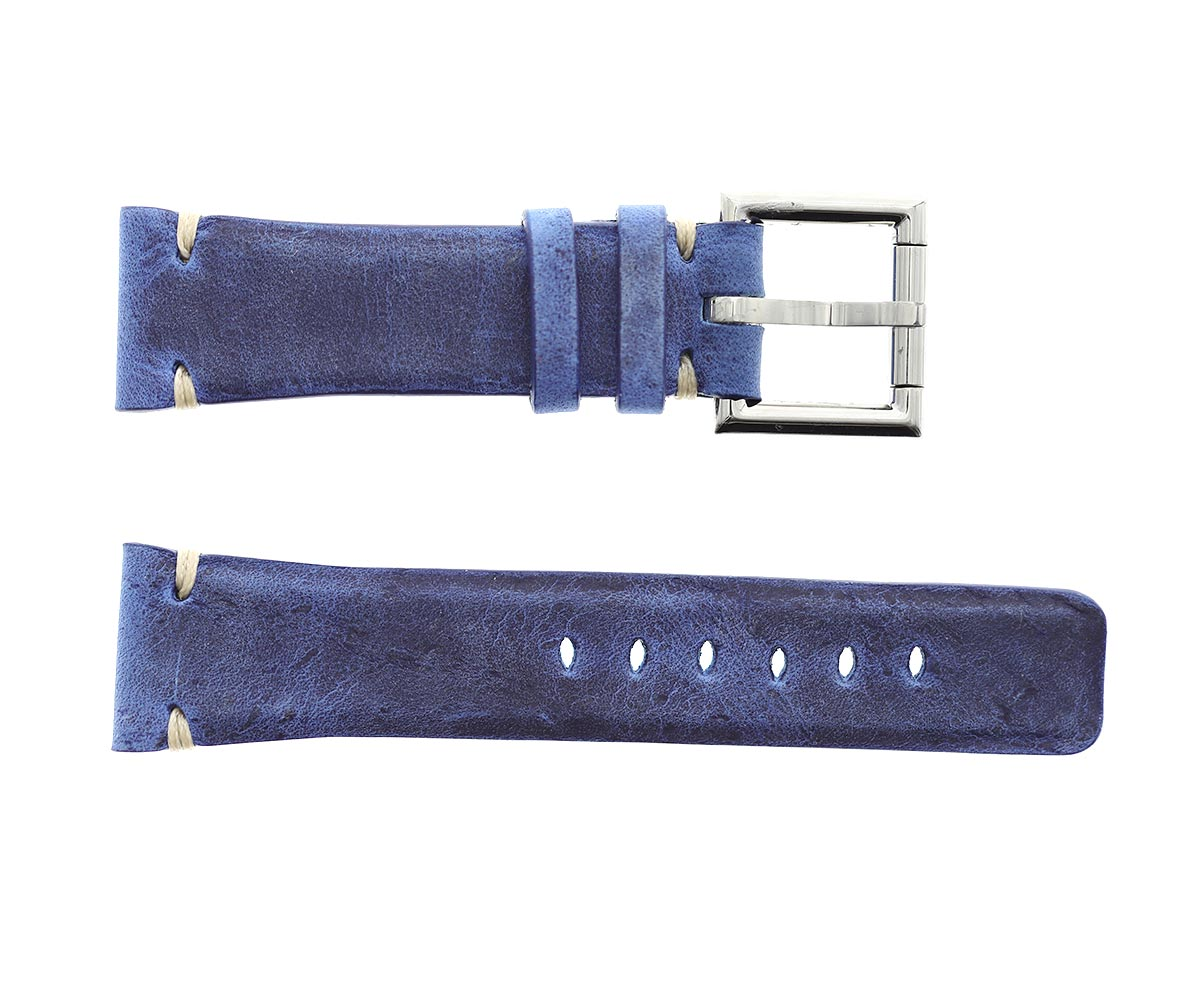 Strap 24mm in Ocean Blue Kudu Vintage Leather with Fixed Buckle