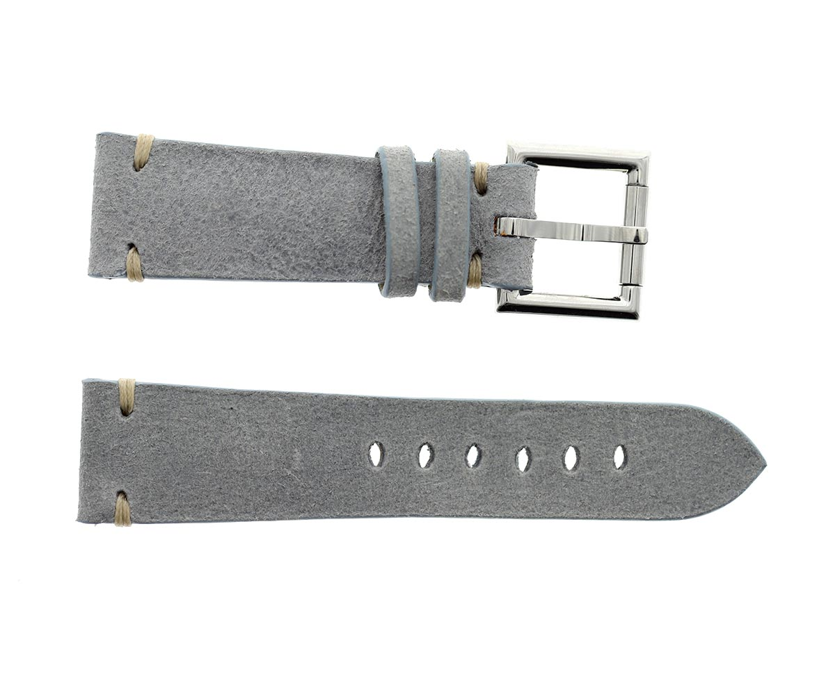 Strap 24mm in Light Blue Mohawk Vintage Leather with Fixed Buckle