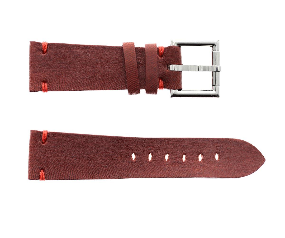 Strap 24mm in Wine Red Kangaroo Leather with Fixed Buckle