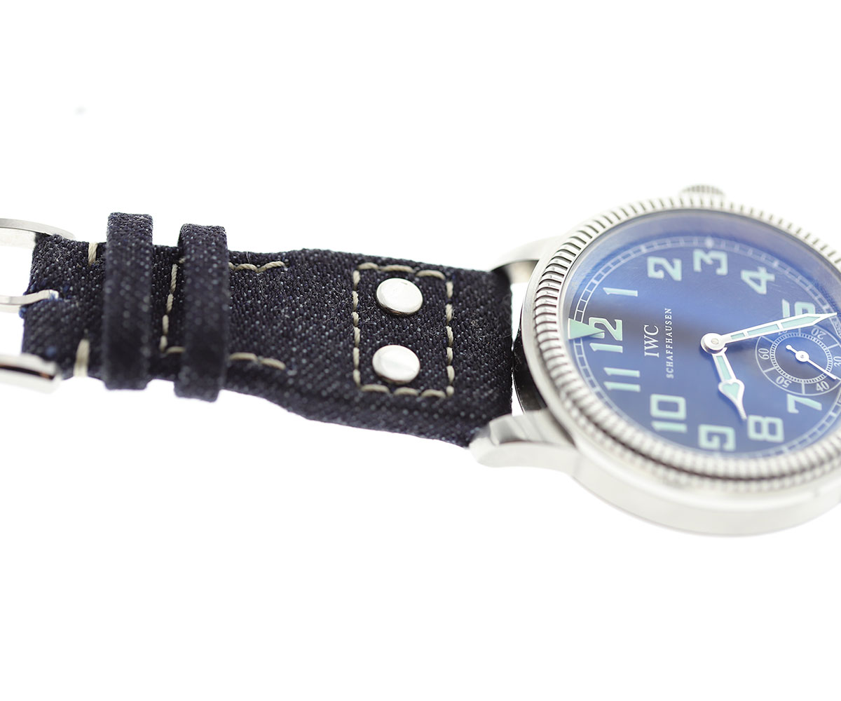 Custom Made Japanese Denim strap 22mm for IWC Big Pilot watch. Vegan style