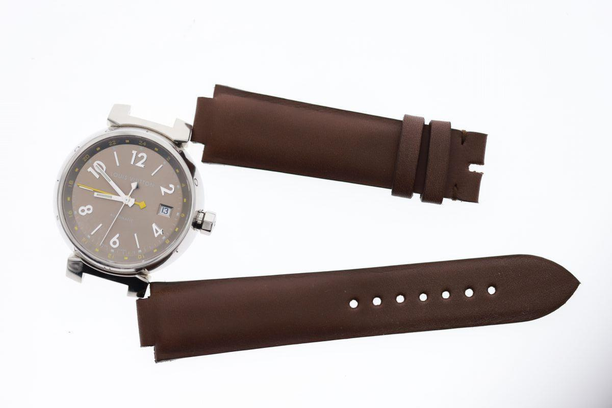 Brown Barenia / Luxury Hermes French calf leather strap 21mm Louis Vuitton Tambour style