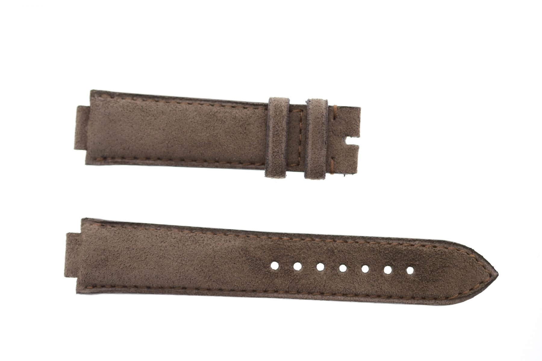 Mocca Brown Alcantara strap 21mm Louis Vuitton Tambour style