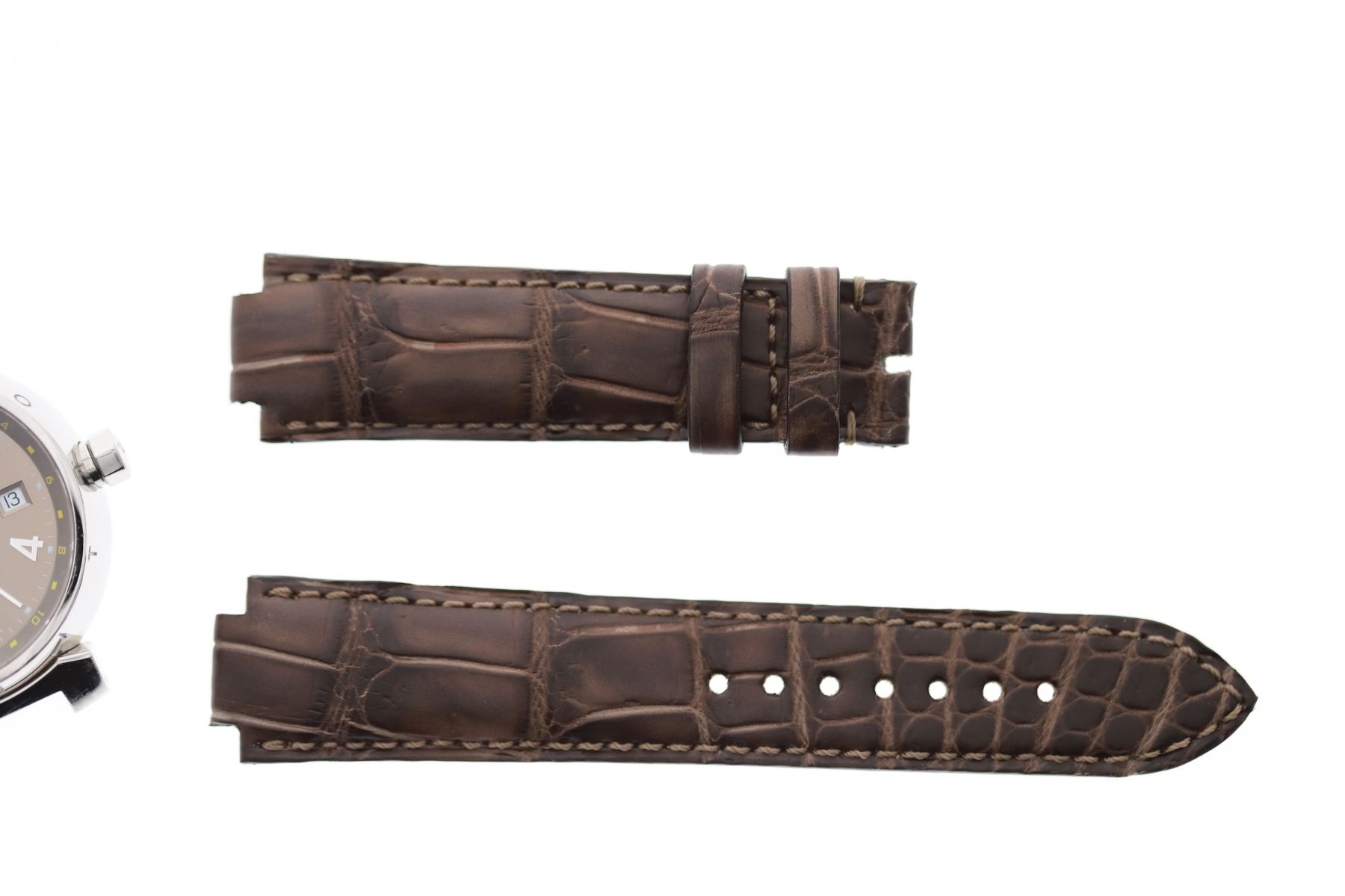 Wood Brown Matte Alligator Leather strap 21mm Louis Vuitton Tambour style