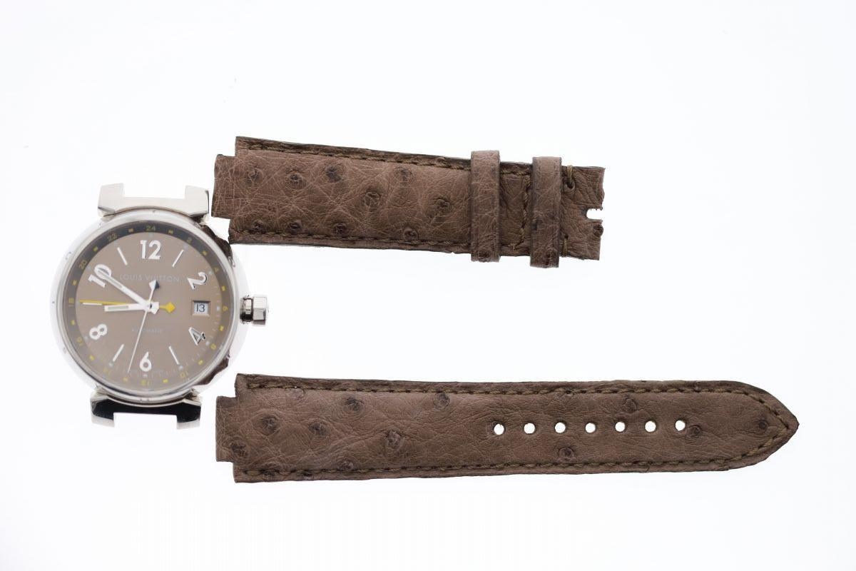 Tortora Beige Exotic Ostrich Leather strap 21mm Louis Vuitton Tambour style