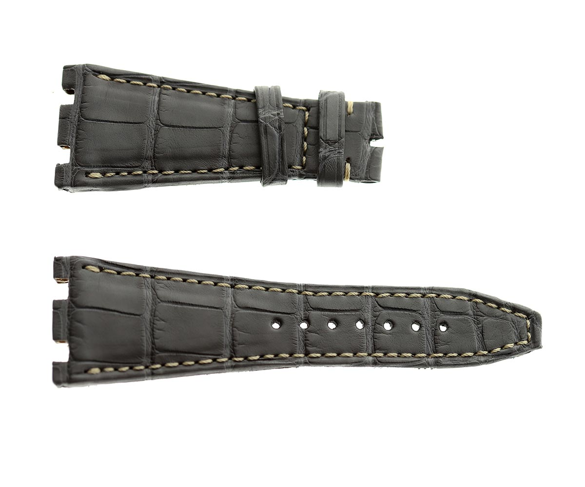 Audemars Piguet Royal Oak Offshore style watch strap 28mm in Exotic Matte Grey Alligator Leather