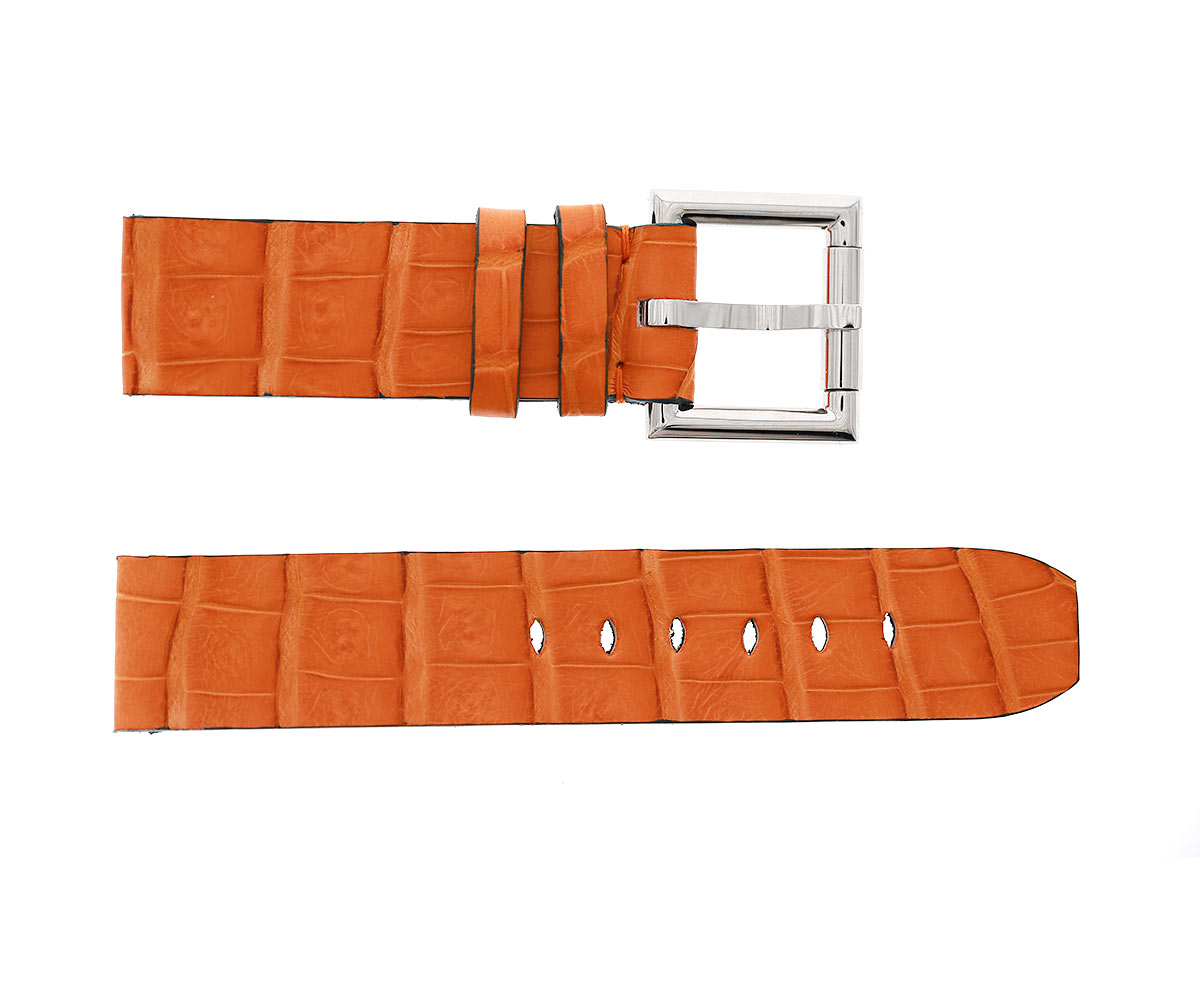 Orange Exotic Latirostris Caiman Leather strap 24mm, 22mm, 20mm with Fixed Buckle