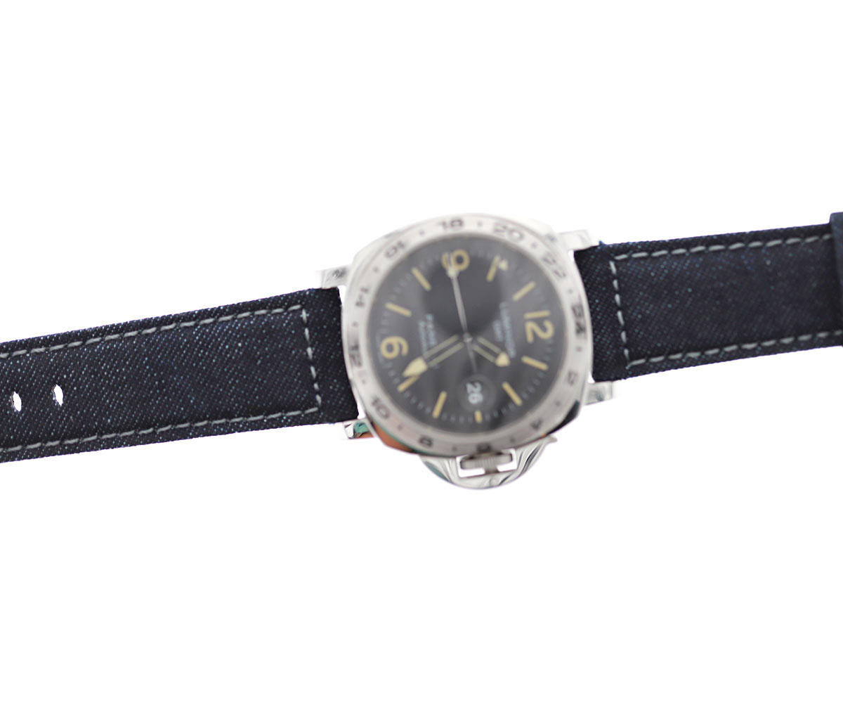 Dark Blue Japanese Denim Panerai style strap 24mm / ROCKY / GREY STITCHING