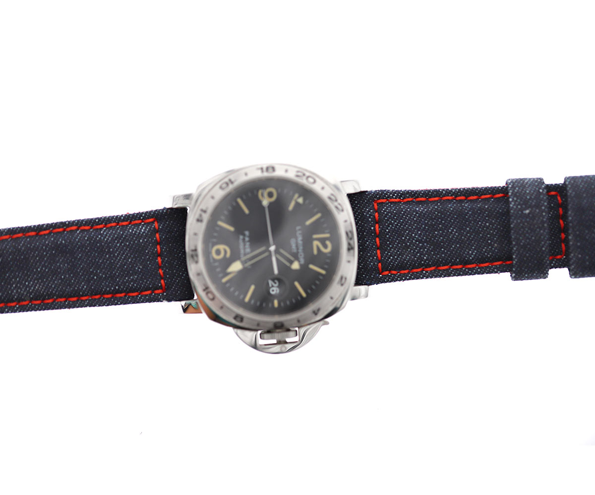 Dark Blue Japanese Denim Panerai style strap 24mm / ROCKY / RED STITCHING