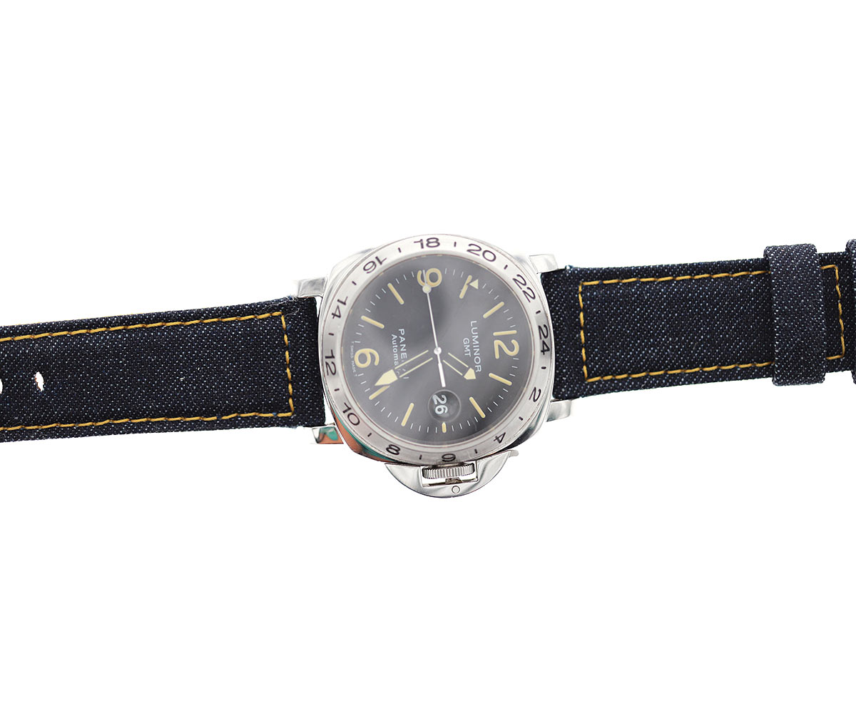 Dark Blue Japanese Denim Panerai style strap 24mm /  TOKYO / YELLOW STITCHING