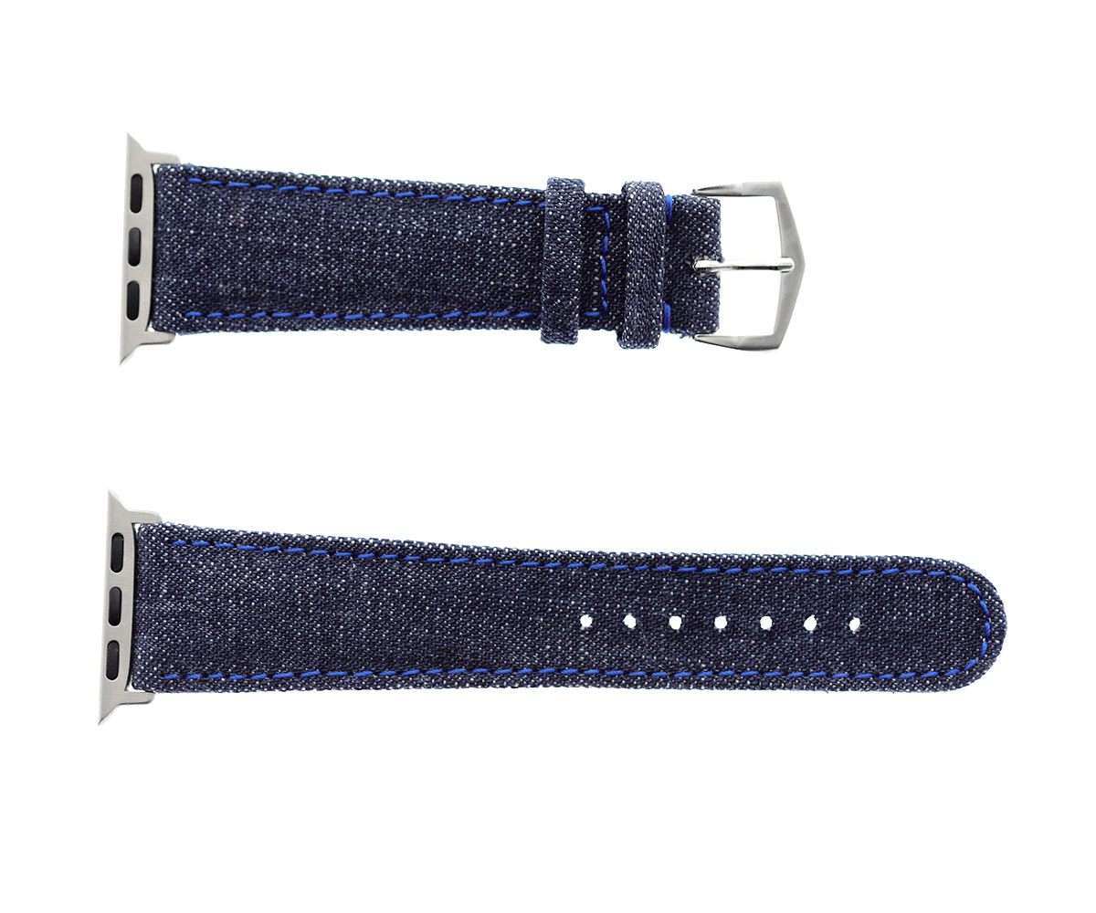 Japanese Blue Denim strap with Indigo Blue stitching & Alcantara® lining for 40mm, 38mm case (Apple Watch All Series)