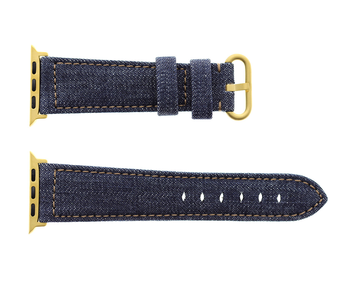 Japanese Denim Strap for 44mm, 42mm case (Apple Watch All Series) / DARK BLUE / BEIGE STITCHING