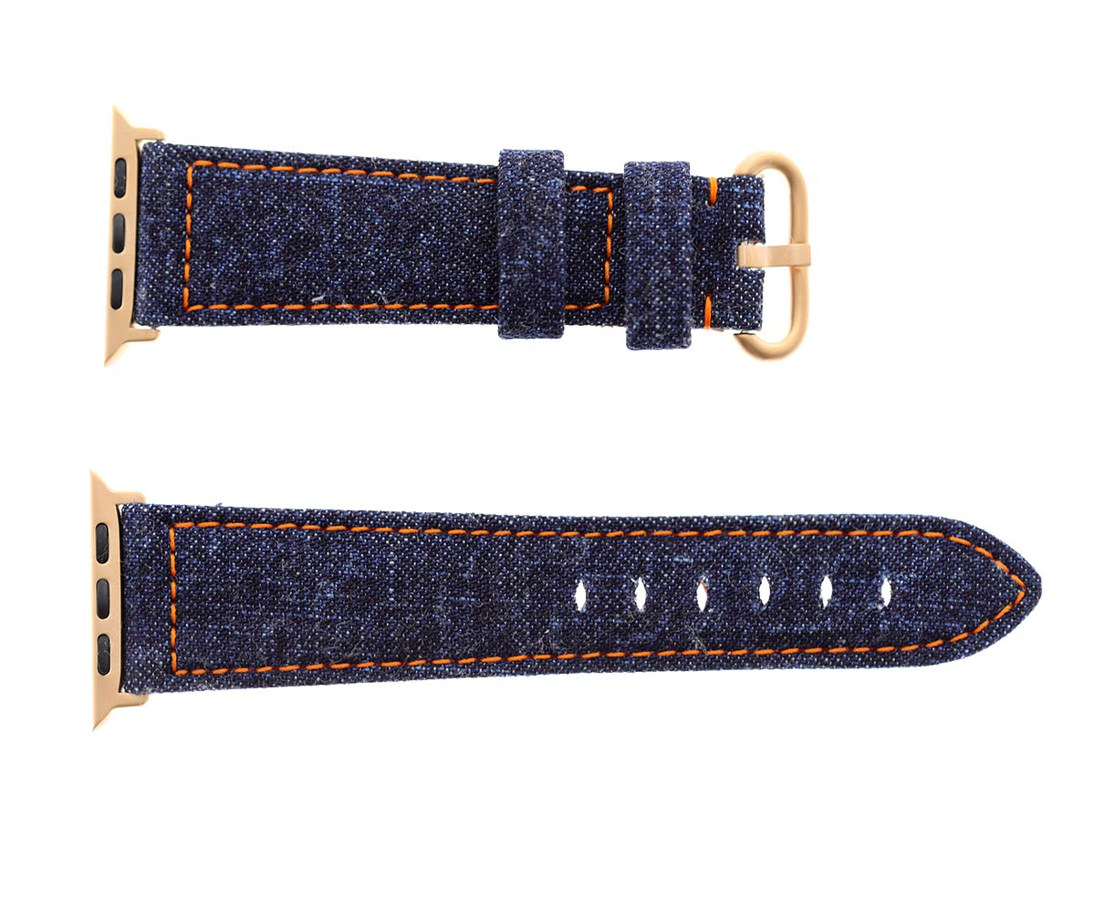 Japanese Denim Strap for 44mm, 42mm case (Apple Watch All Series) / DARK BLUE / ORANGE STITCHING