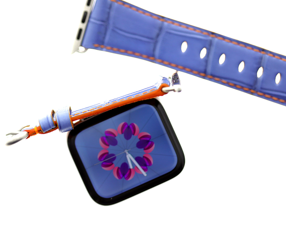 Niagara Blue Semi-Gloss Alligator Apple Watch Strap 44mm, 42mm (All generations). Small size