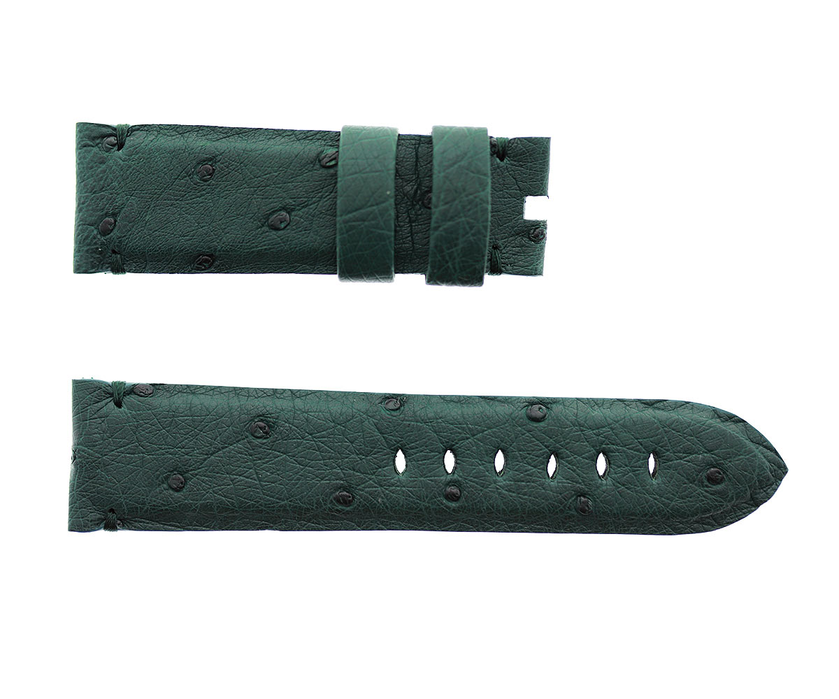 Petrol Green Ostrich Leather strap 24mm for Panerai style timepieces