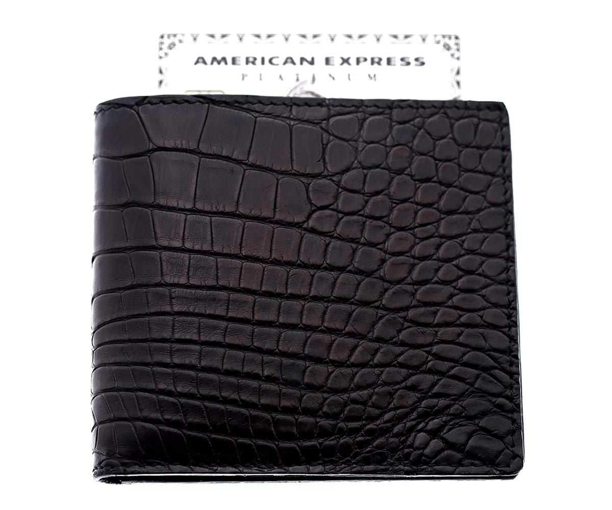 Exotic Classic Cards & Bills Wallet in Genuine Alligator Leather. Antracite Black