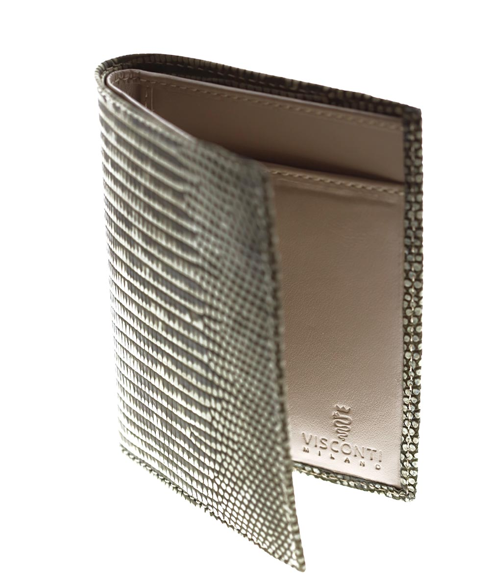 Sand Beige Exotic Classic Cards & Bills Wallet in Soft-touch Lizard Leather