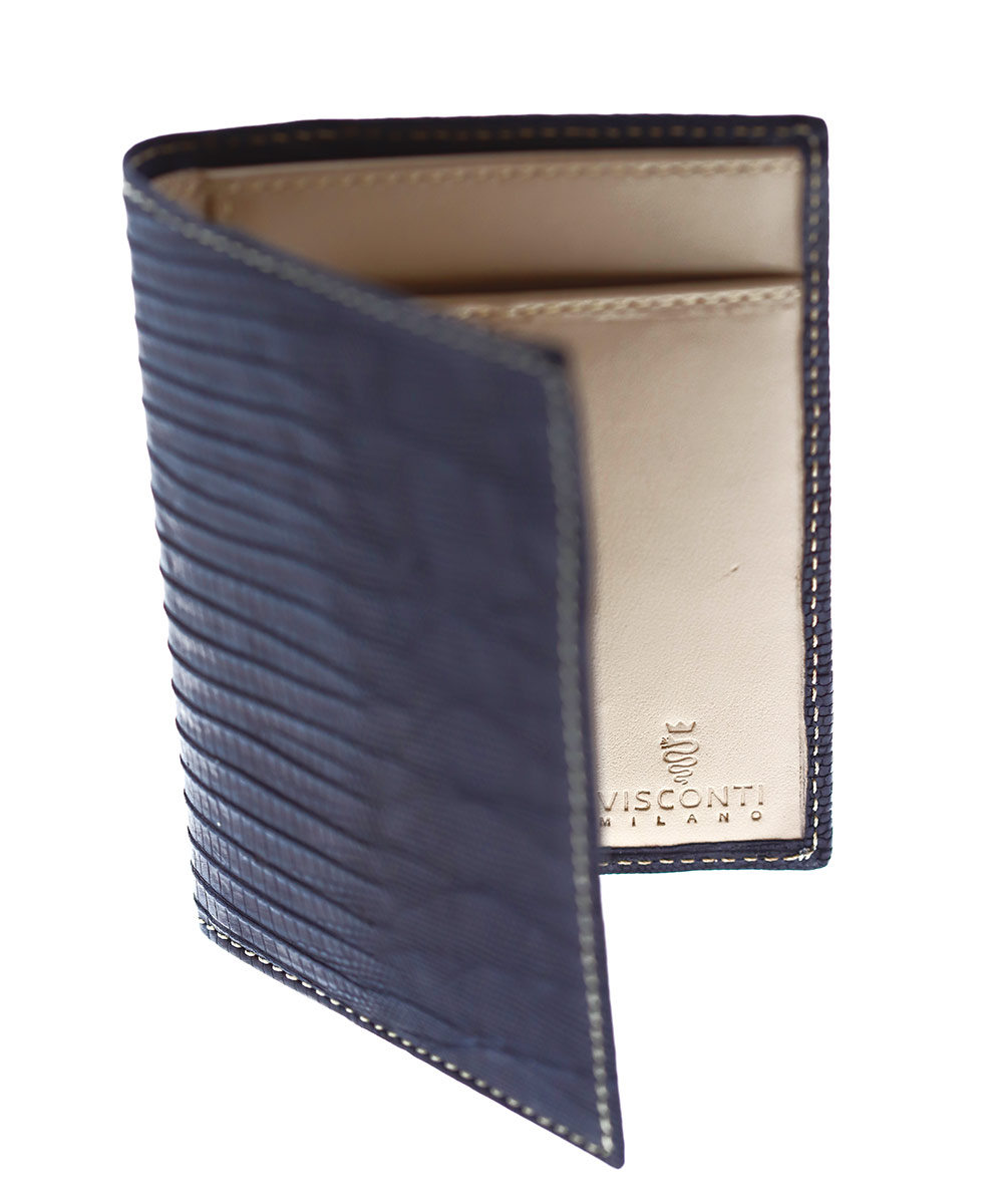 Blue Sapphire Exotic Classic Cards & Bills Wallet in Soft-touch Lizard Leather