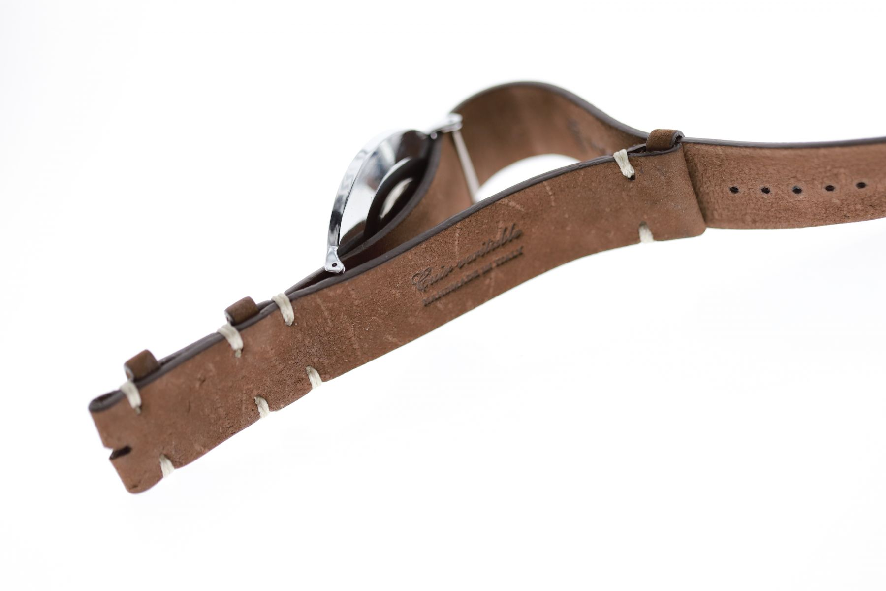 NATO custom wrist watch band 20mm in Cigar Brown Kudu leather / Regular size