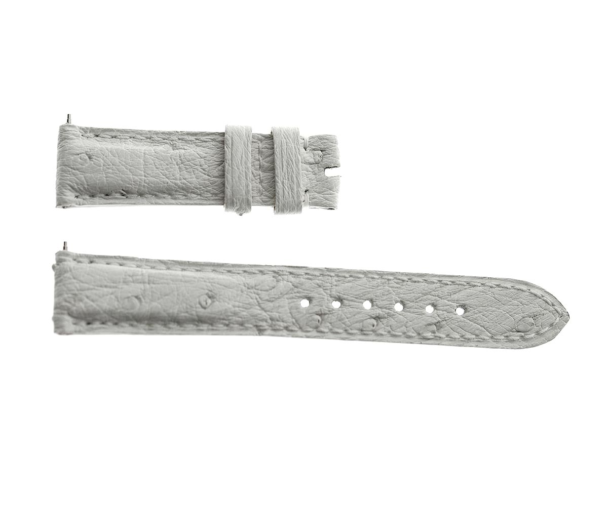 Jaeger LeCoultre Master Memovox style watch strap 18 mm in Exotic White Ostrich Leather