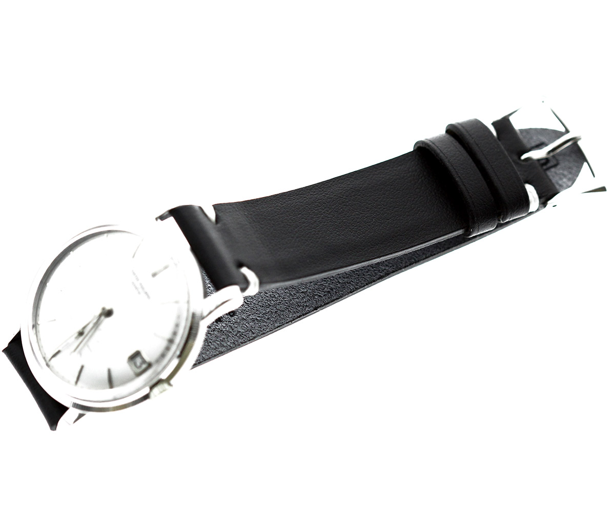 Black Napa Leather strap 18mm. White stitching