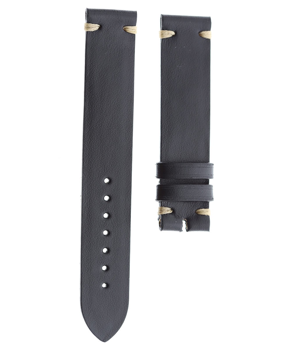 Black Nappa Leather strap 18mm. Beige stitching