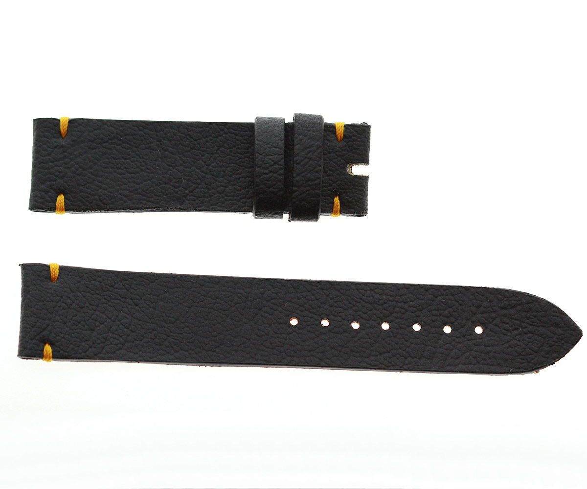 Vegan Italian Leather-imitation Strap 20mm, 18mm. Orange stitching
