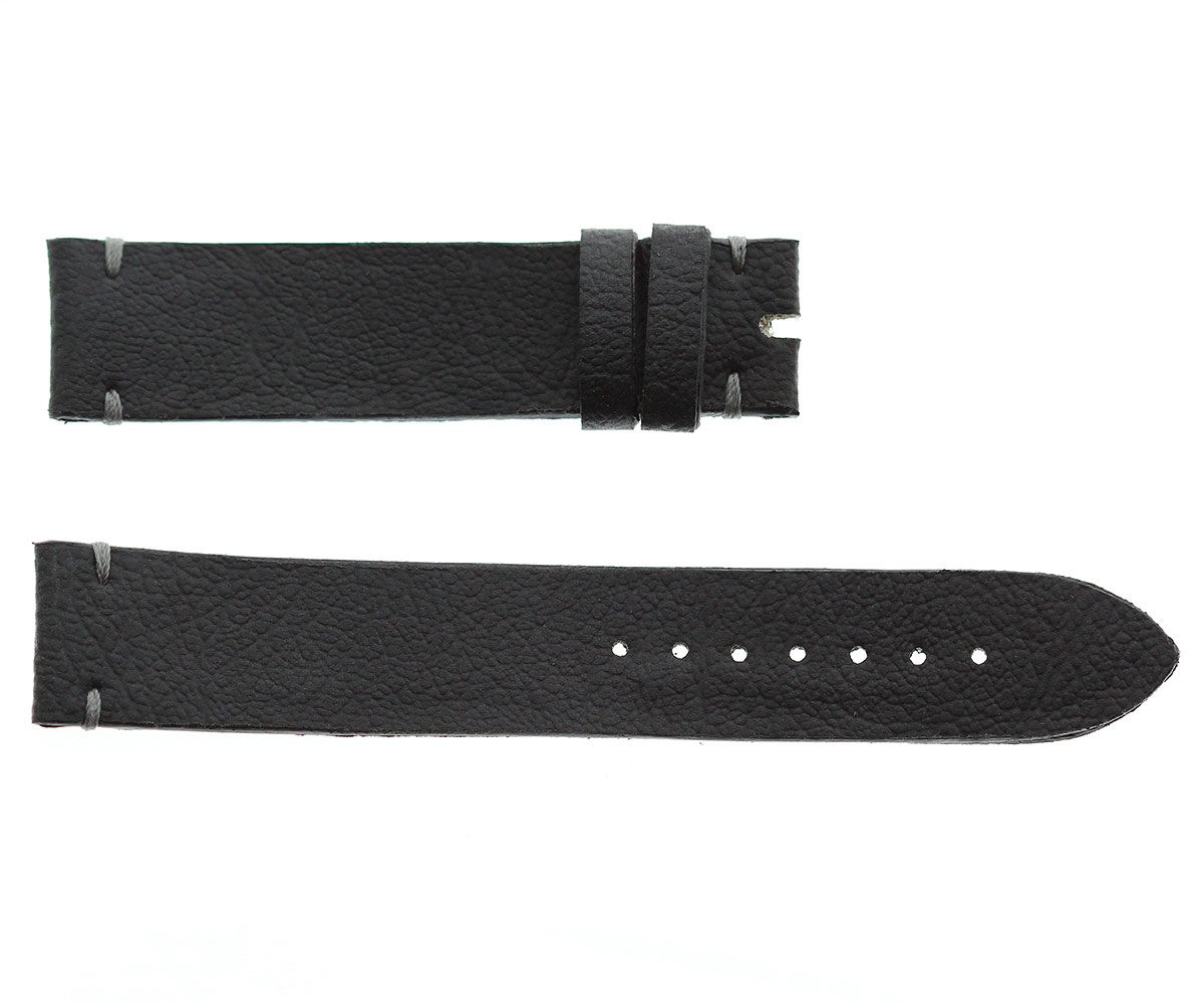 Vegan Italian Leather-imitation Strap 20mm, 18mm. Grey stitching
