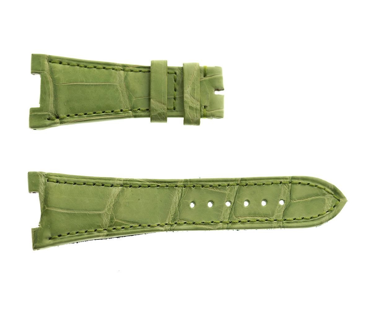 Acid Green Patek Philippe Nautilus style watch strap 25mm in Alligator leather. Green Alcantara lining