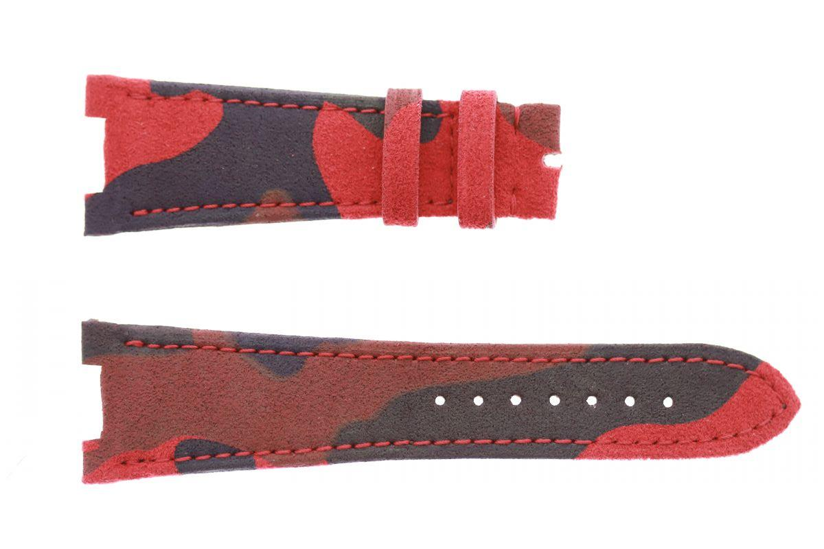 Red Flame Acapulco Camouflage Alcantara Patek Philippe Nautilus style watch strap 25mm