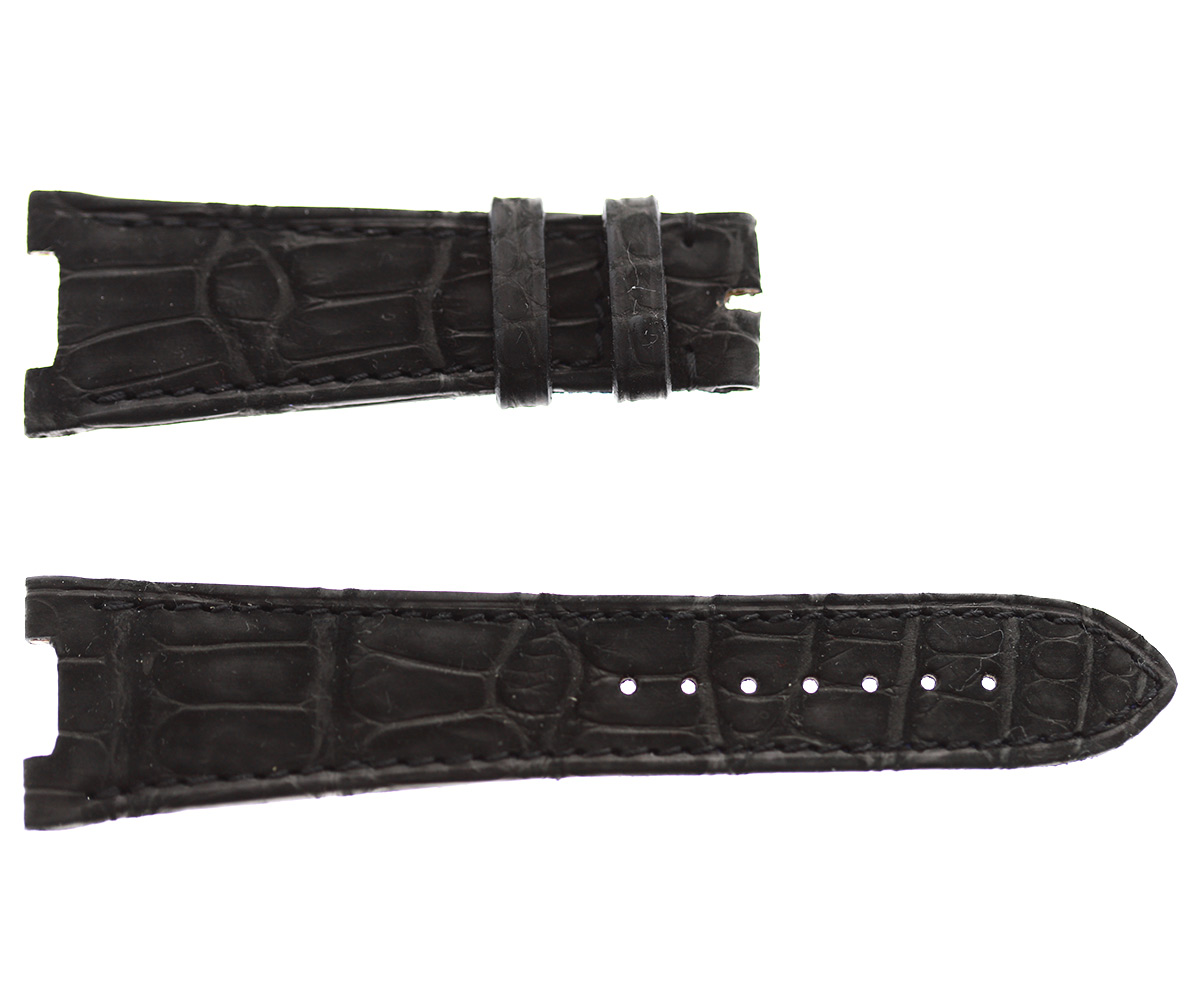 Patek Philippe Nautilus style watch strap 25mm in Black Suede-touch Alligator leather. Black stitching